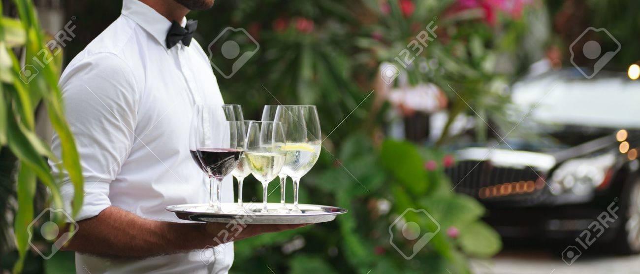 Tuxedo dressed waiter serving wine - 12573715