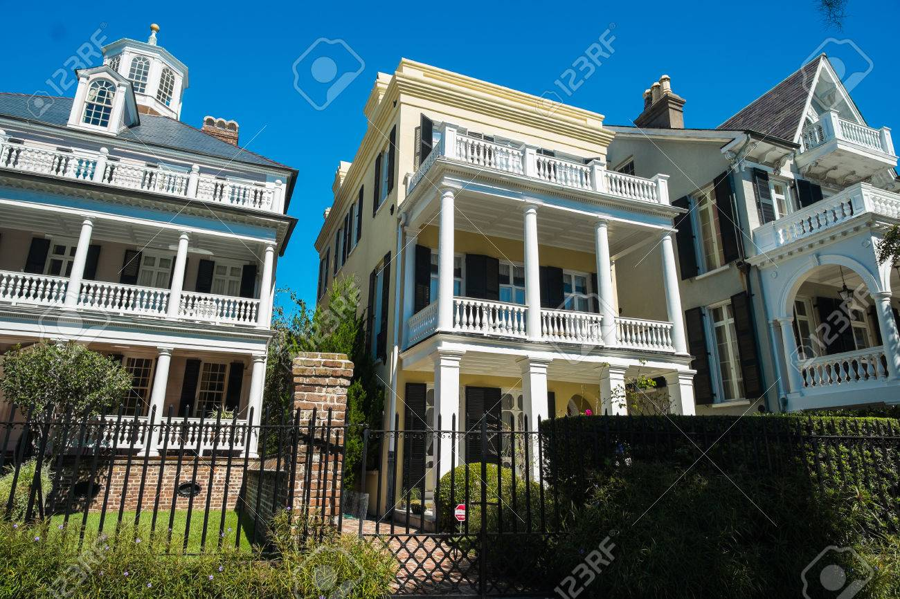 historic southern style homes in charleston south carolina stock photo 23189847 - Southern Style Houses