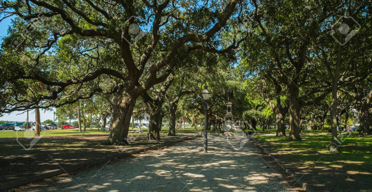 Historic White Point Gardens In Charleston, South Carolina. Stock ...