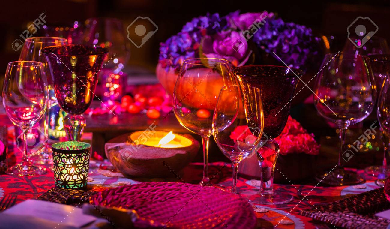 Fancy Dinner Table Setting With Candle Light Stock Photo   26343292