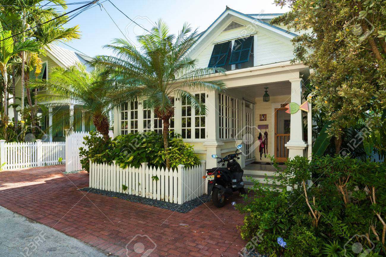 Key West, Florida USA   March 3, 2015: Typical Wood Frame Architecture Style