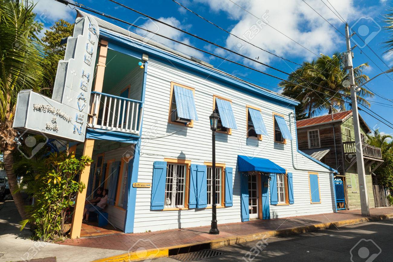 key west florida usa march 9 2015 the iconic blue heaven restaurant