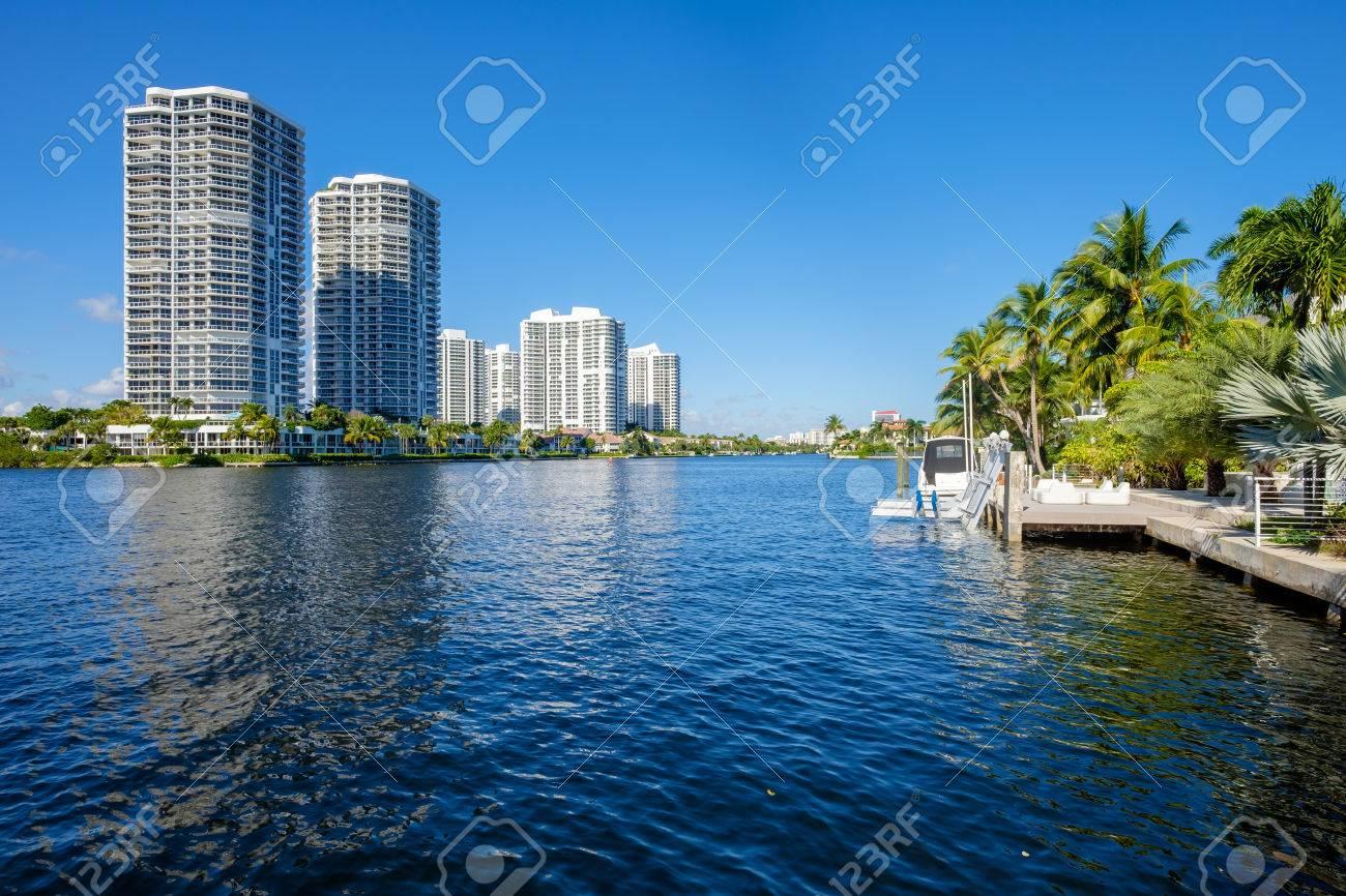 North Miami Intracoastal Waterway with condominiums