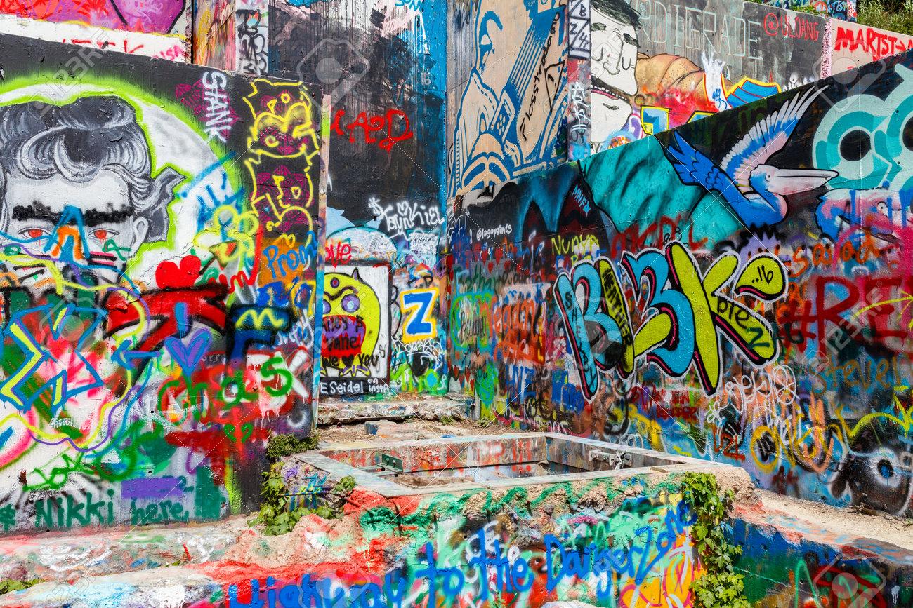 Austin texas usa april 8 2016 colorful graffiti on the walls of