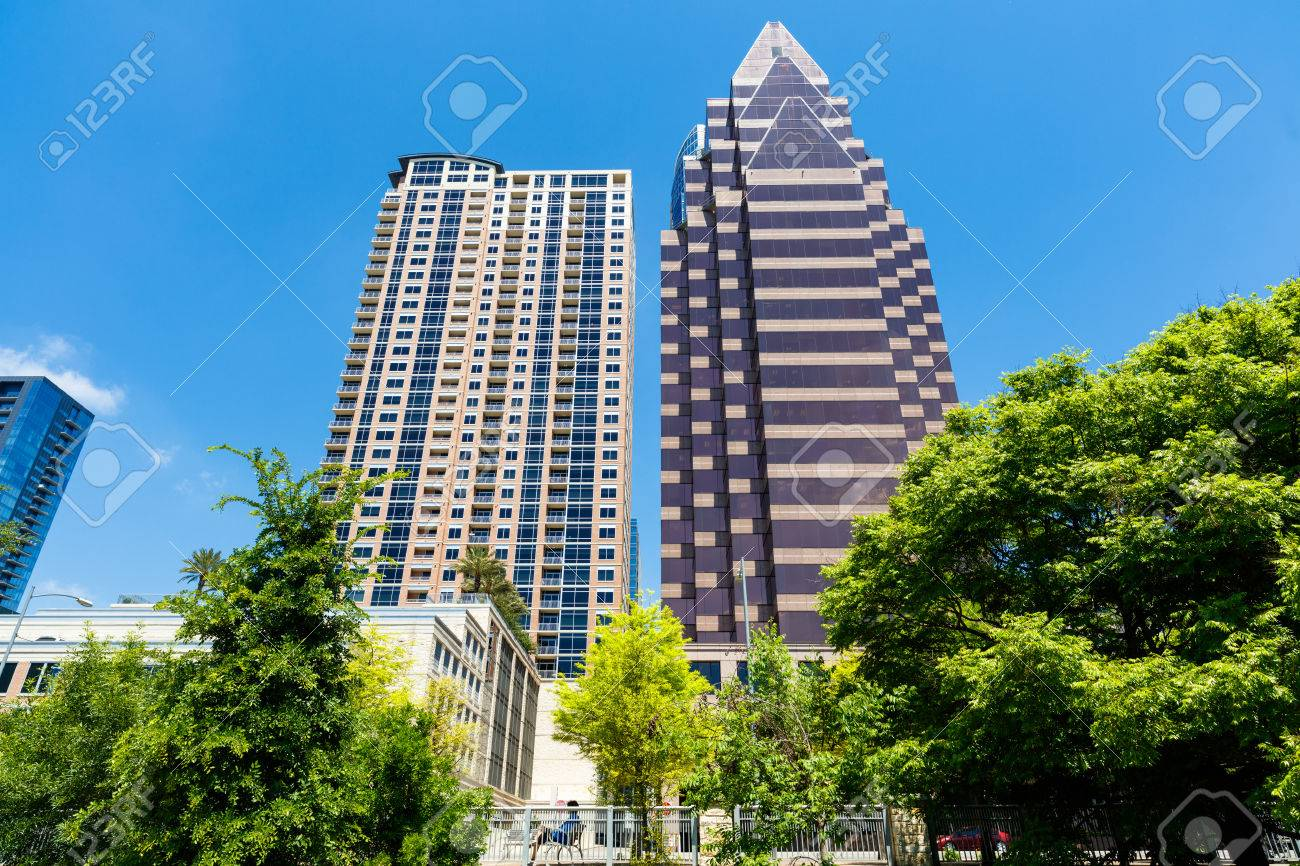 Cityscape Of Downtown Austin, Texas With New Apartment And Office  Buildings. Stock Photo
