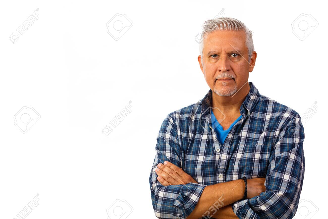 Handsome middle age man studio portrait isolated on a white background. - 121635865