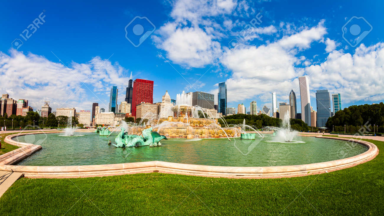 Chicago, Illinois USA - August 8, 2011: Grant Park fish eye cityscape with the Buckingham Fountain and the downtown skyline view. - 153790596