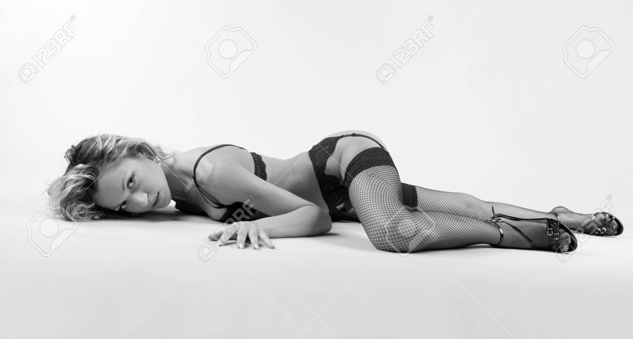 beautiful young woman in lingerie. Monochrome photo Stock Photo - 9908428