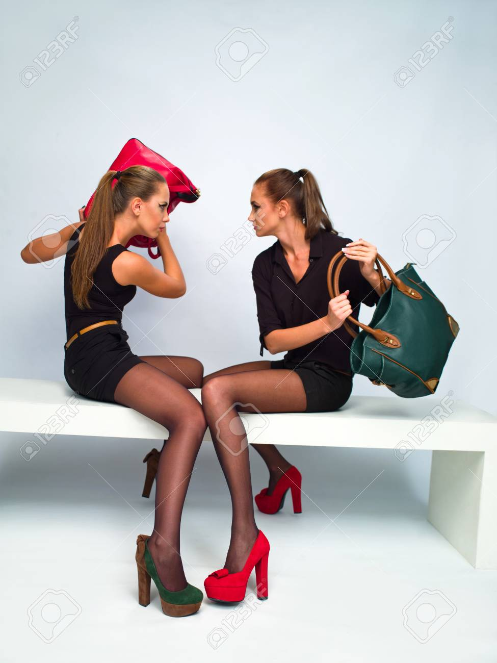 two girls in the studio shooting Stock Photo - 17698447