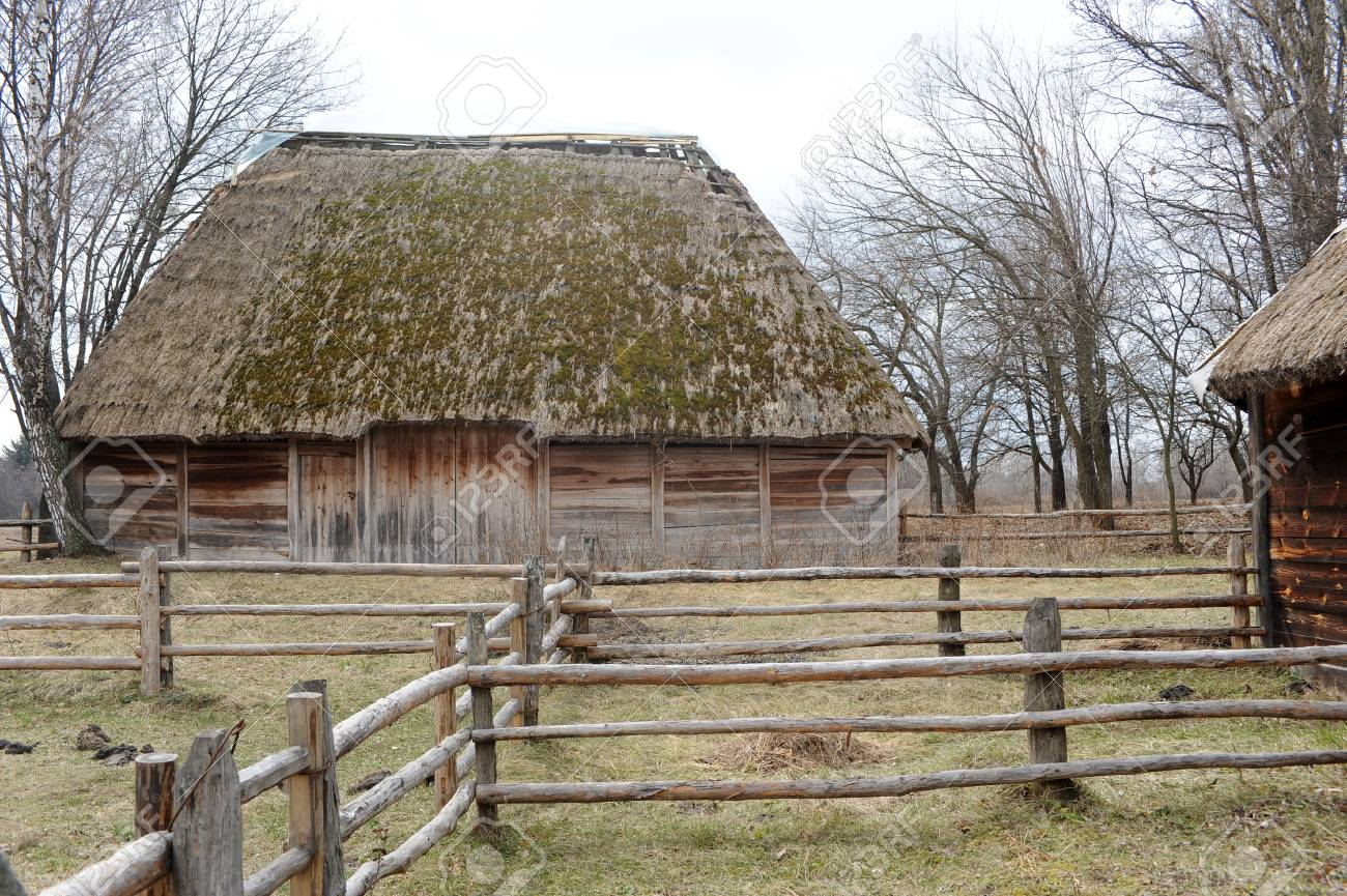 photo of an old wooden house and a small yard Stock Photo - 17899654