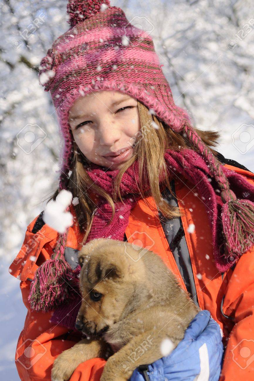 flakes on baby animal and child smiling Stock Photo - 8448024