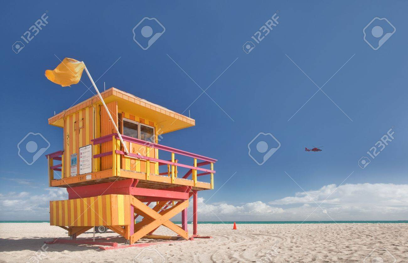 miami beach florida lifeguard house in typical colorful art