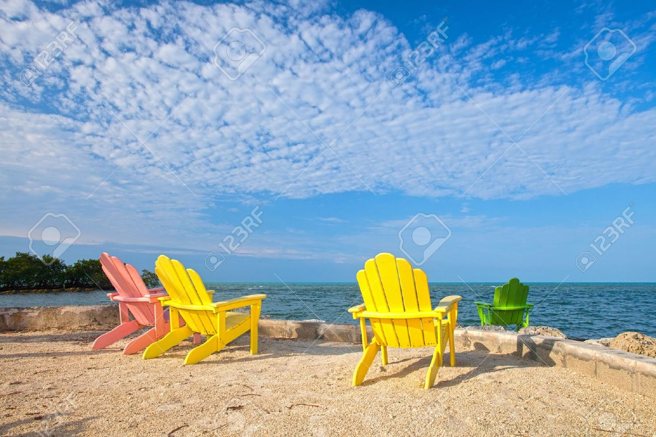 Exceptionnel Stock Photo   Summer Scene With Colorful Lounge Chairs On A Tropical Beach  In Florida With Palm Tree And Blue Sky