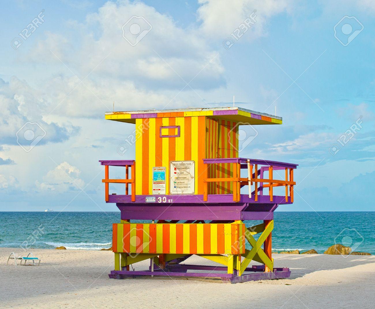 Miami beach florida usa typical art deco lifeguard house on.. stock