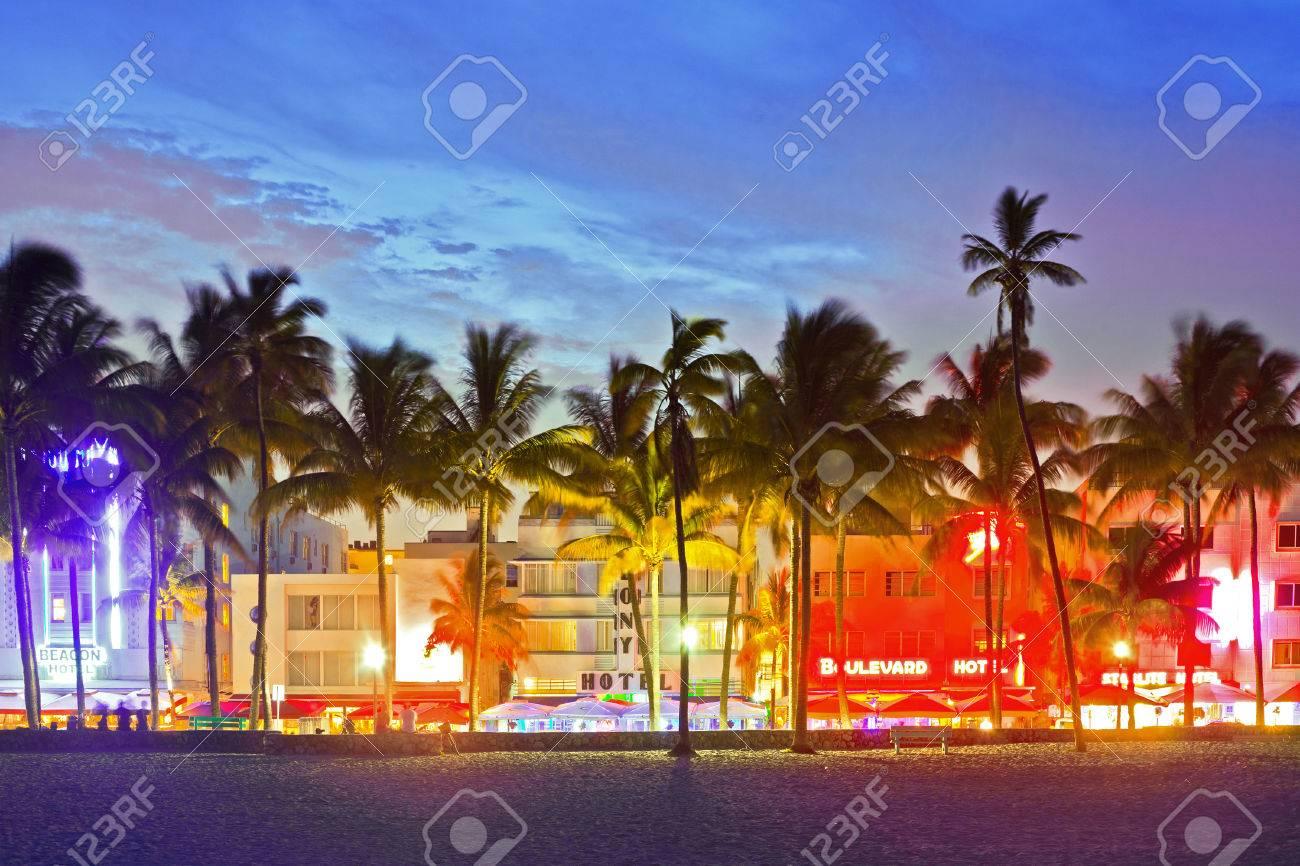 Miami Beach Florida Usa June 13 Illuminated Hotels And Restaurants