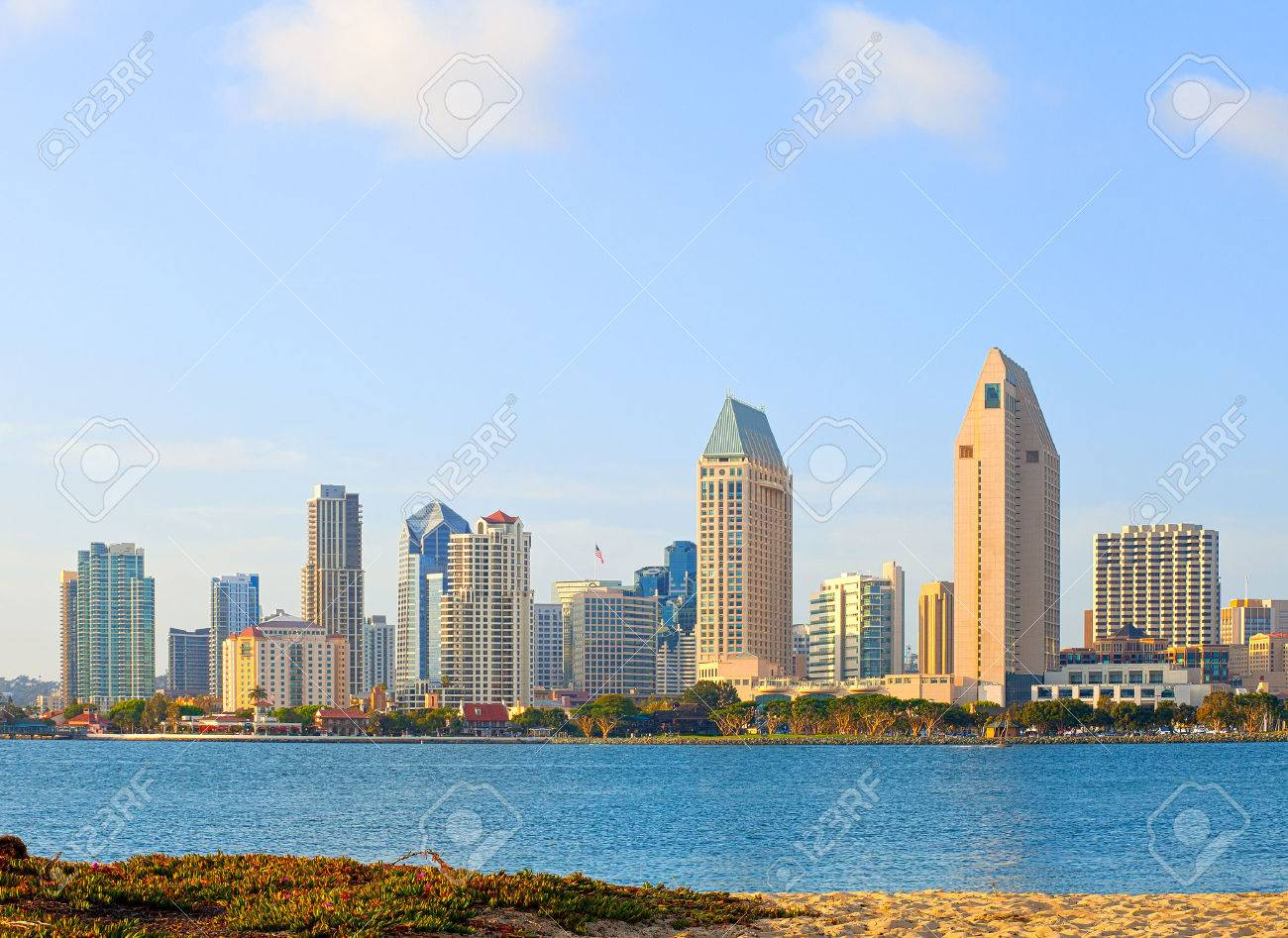 San Diego California Skyline Of Downtown Business District On A Beautiful Sunny Summer Day Stock