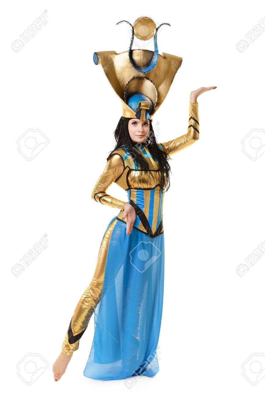 Stock Photo   Young Girl Dressed In Egyptian Costume Isolated On White  Background