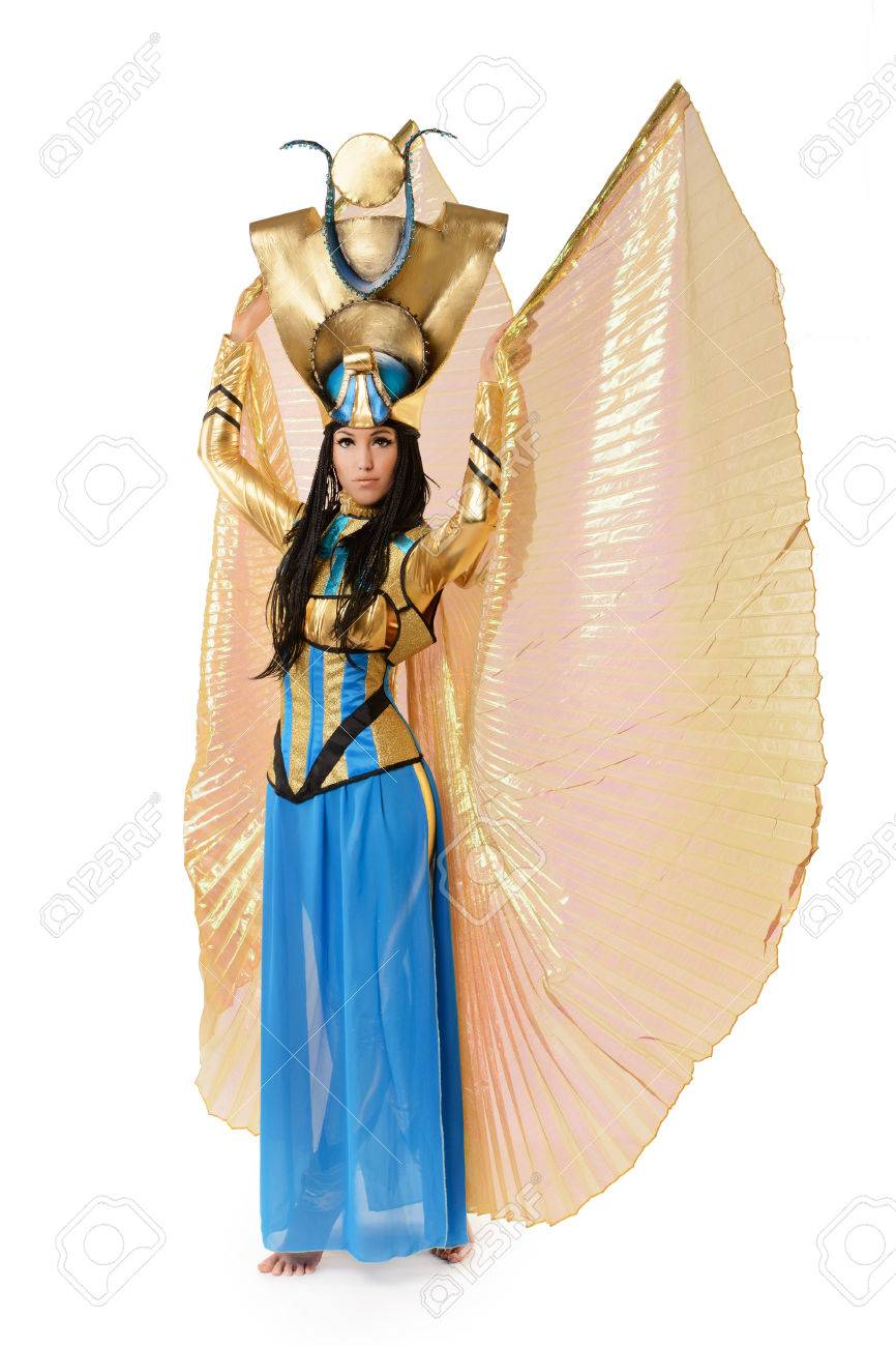 Elegant Stock Photo   Young Girl Dressed In Egyptian Costume Isolated On White  Background
