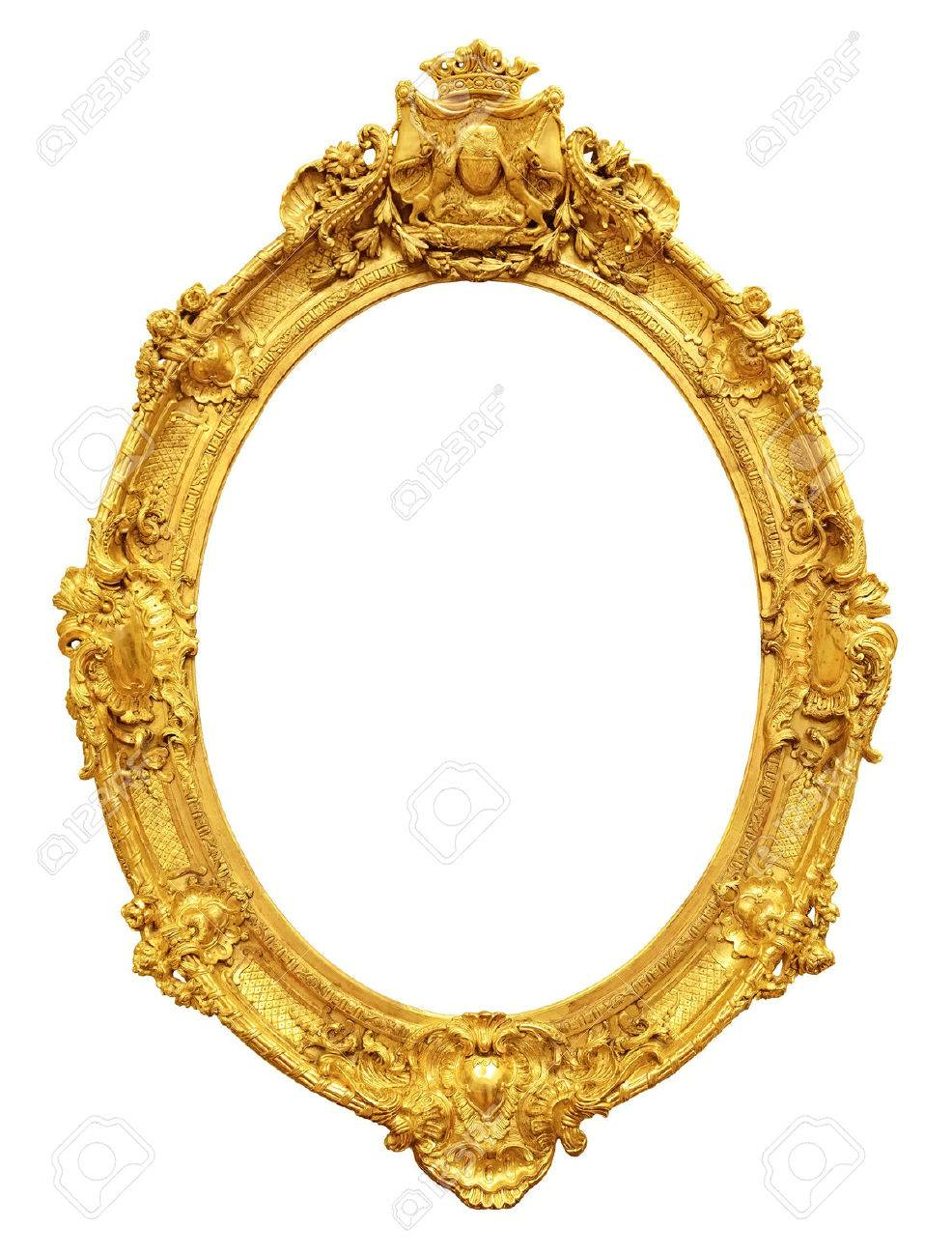 frame gold vintage frame isolated on white background