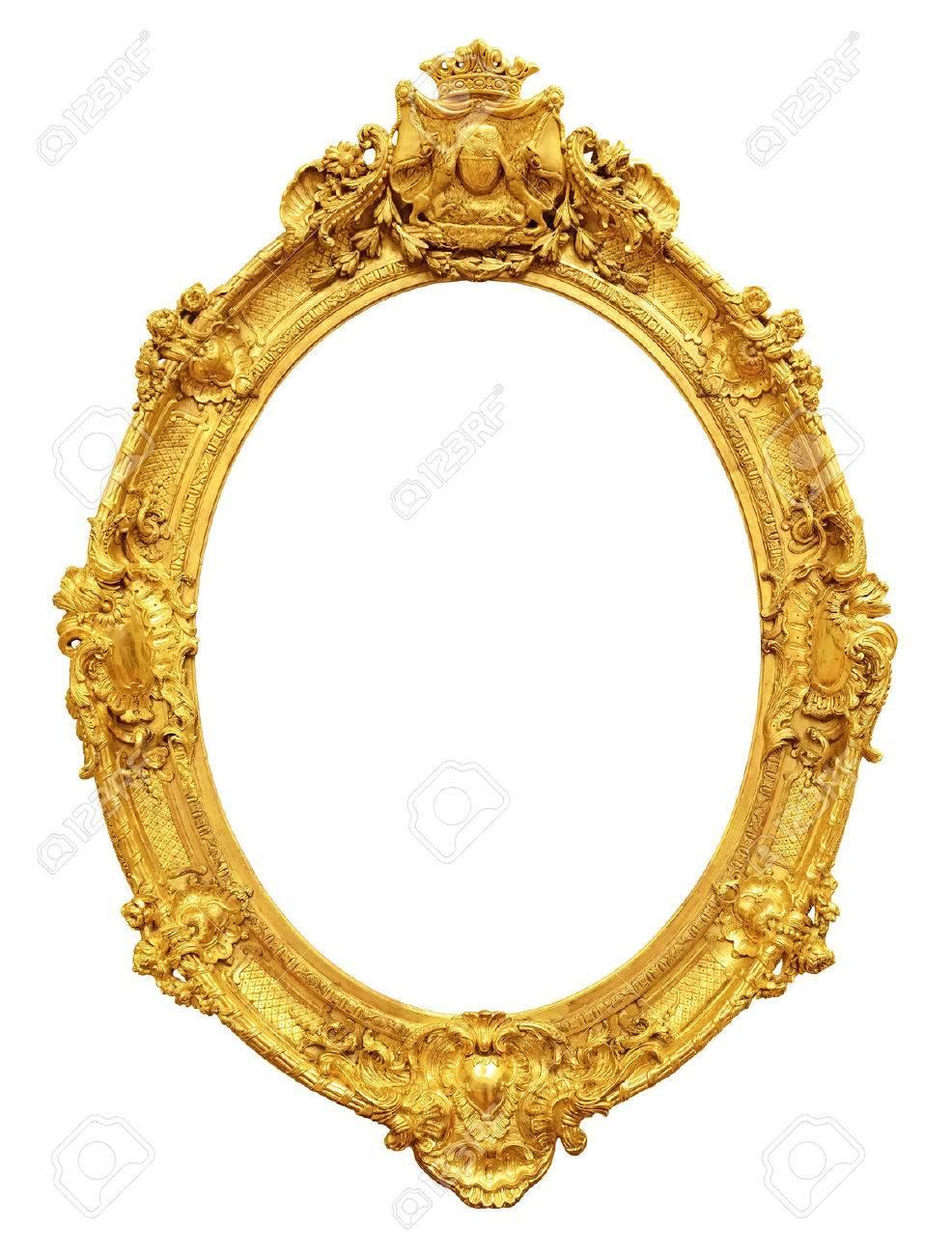 Gold vintage frame isolated on white background Stock Photo - 48507028
