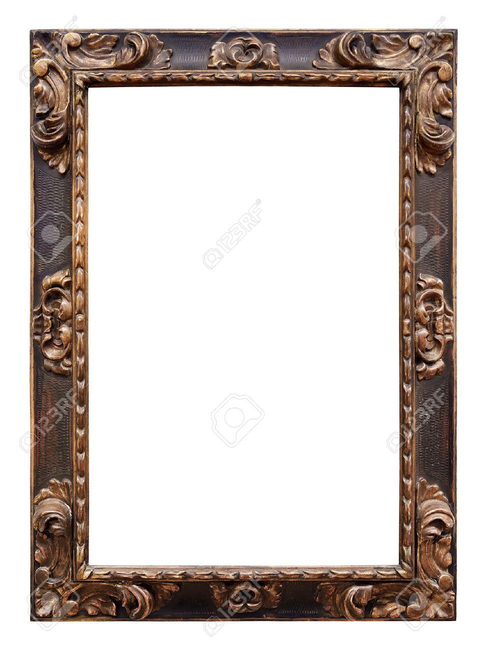 frame vintage wooden frame isolated on white background stock photo