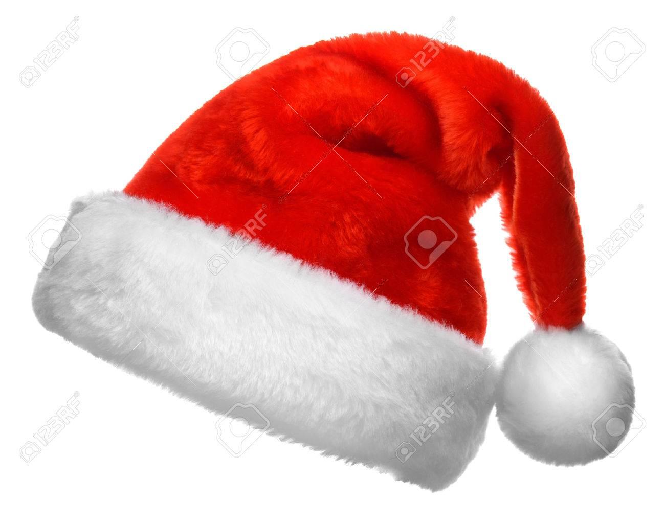 Banque d\u0027images , Simple Père Noël chapeau rouge isolé sur fond blanc