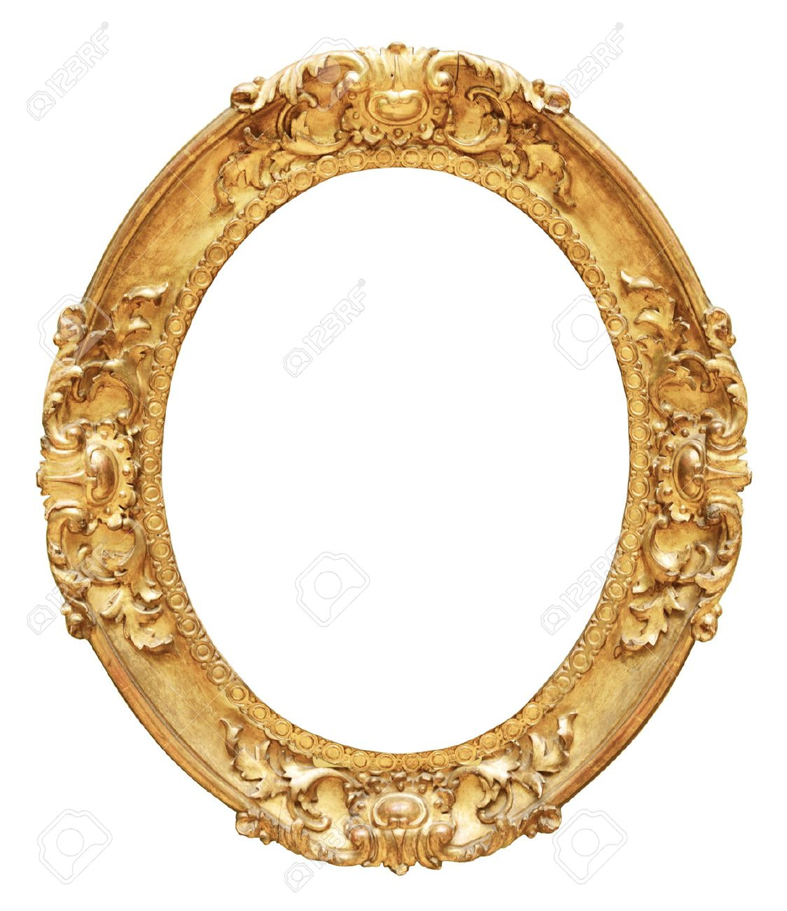 Gold Vintage Oval Frame Isolated On White Background Stock Photo ...