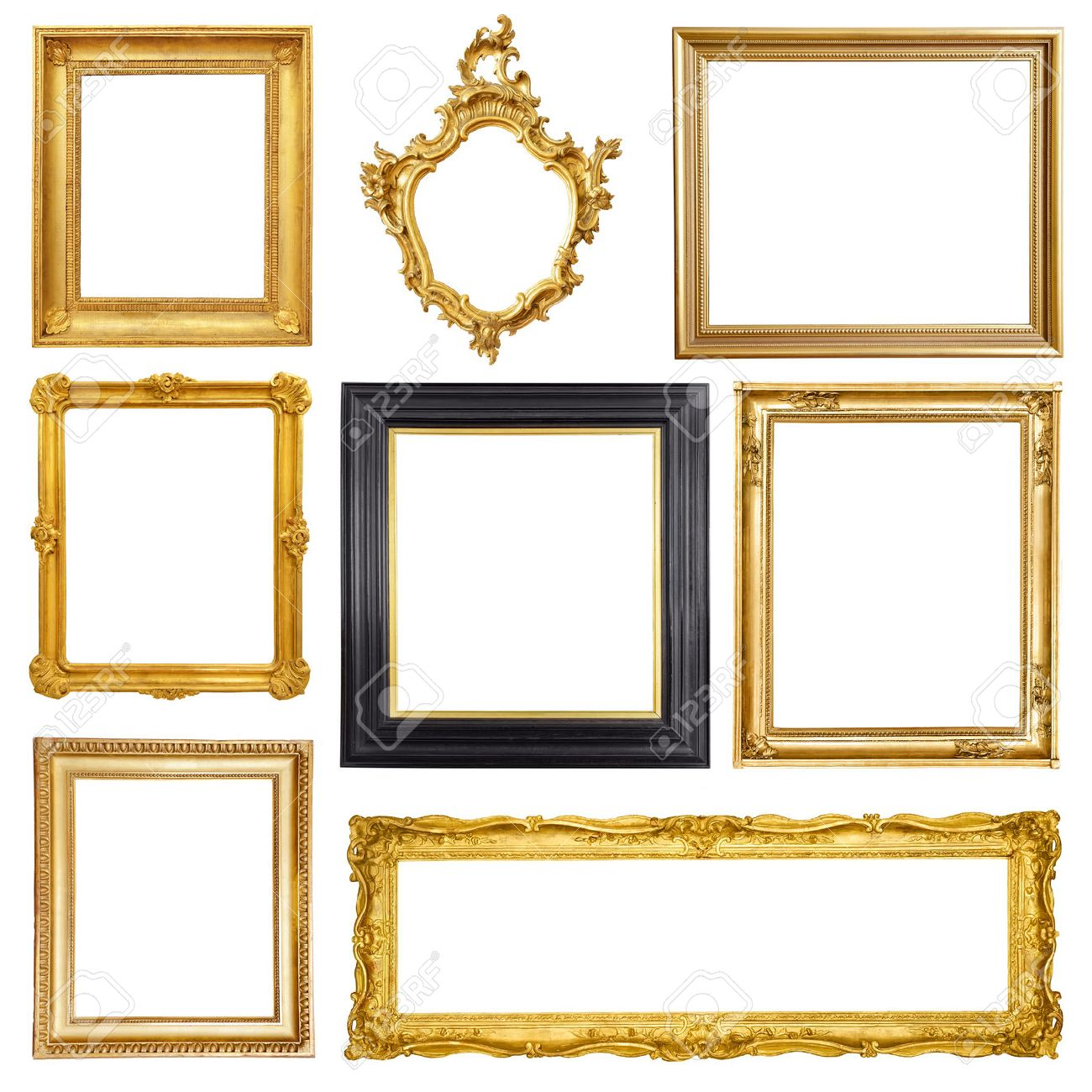 Set of golden vintage frame isolated on white background Stock Photo - 48929600