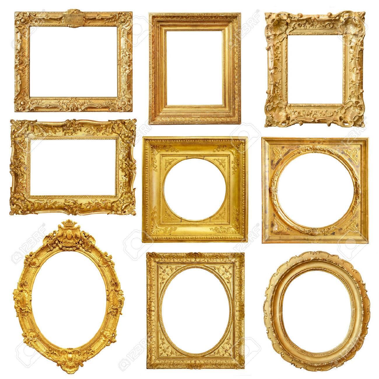 Set of golden vintage frame isolated on white background Stock Photo - 48930219