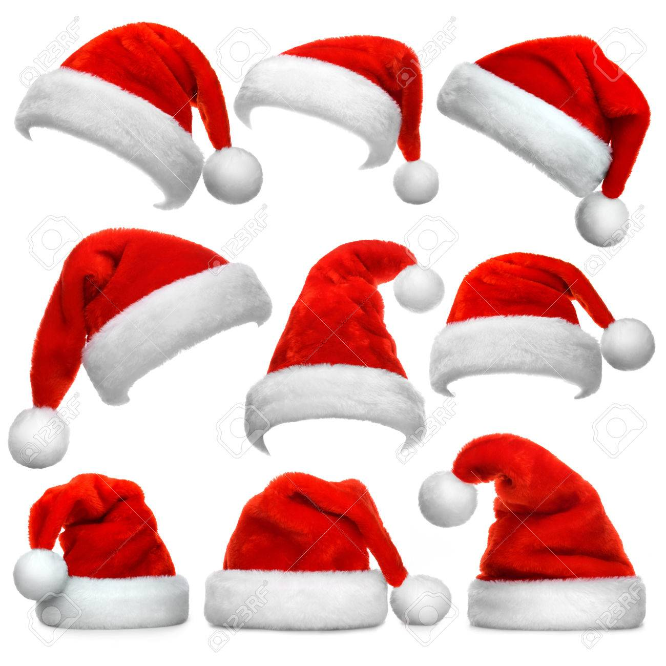 Set of red Santa Claus hats isolated on white background Stock Photo -  48930673 9b36f84cd306