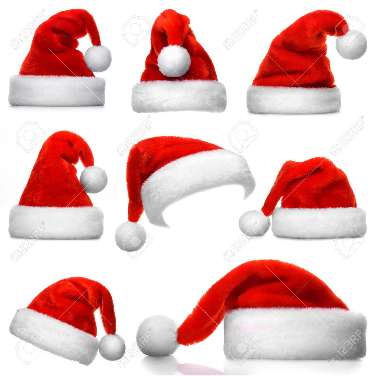Set of red Santa Claus hats isolated on white background Stock Photo -  48931747 cd8d481aad4d