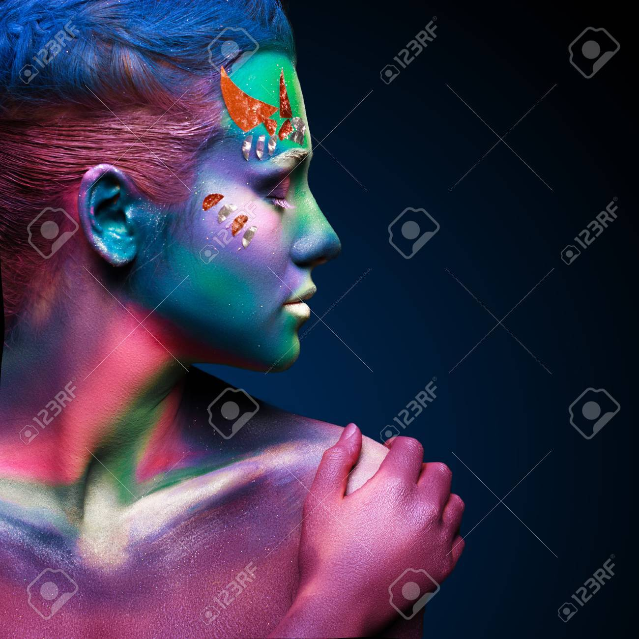 Portrait of beautiful woman with body art. underwater concept Stock Photo - 29169407