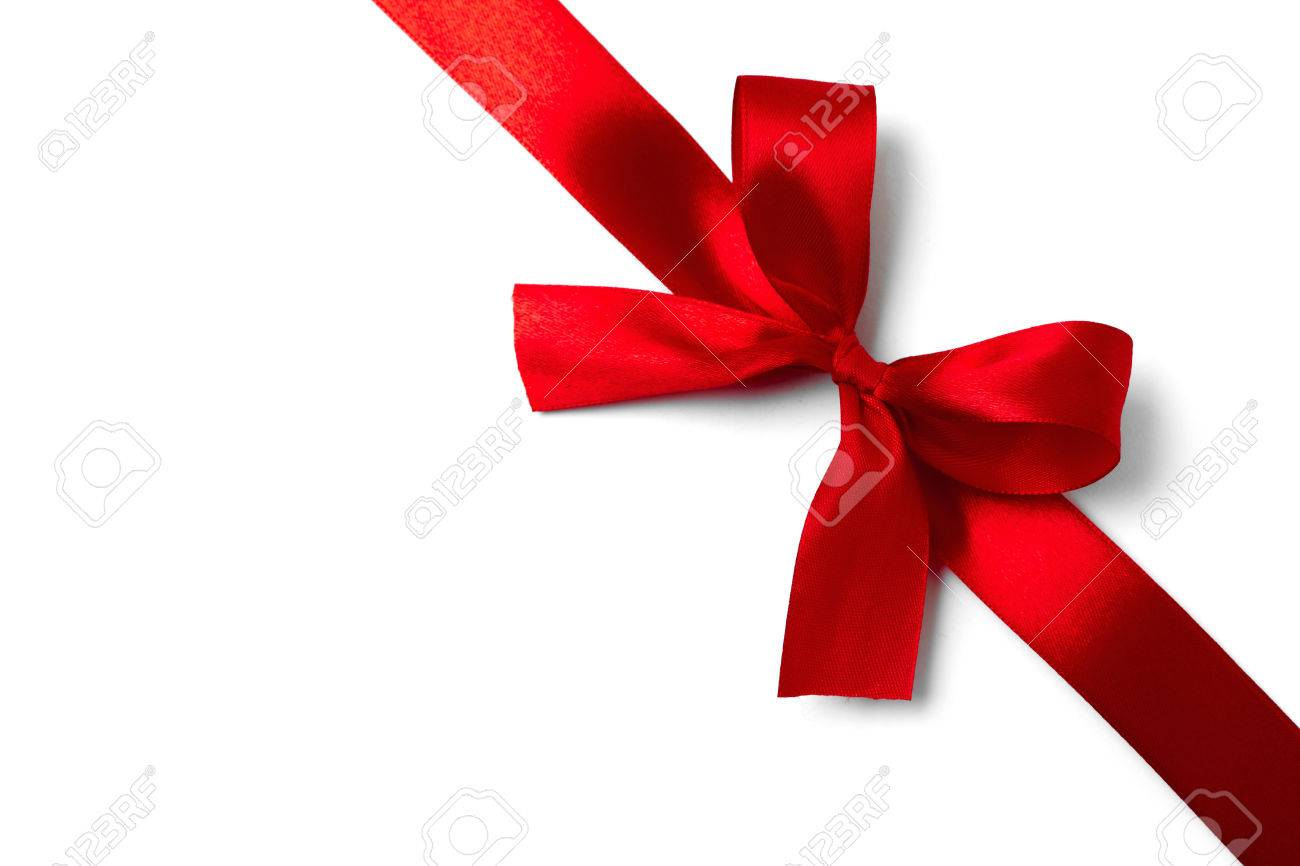 Red gift bows border with clipping path for easy background removing - Ribbon Shiny Red Satin Ribbon On White Background Studio Shot