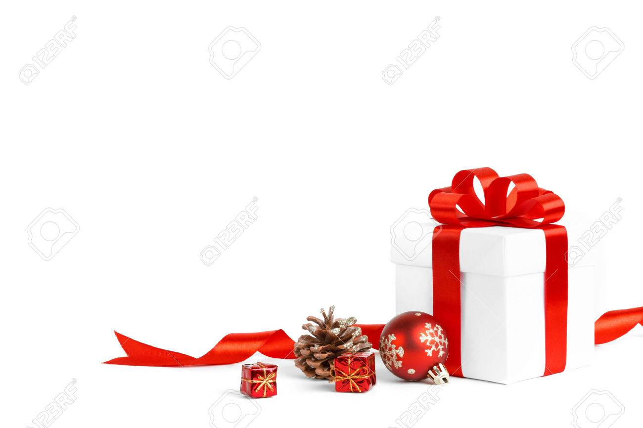 christmas gift with red balls bow isolated on white background Stock Photo - 33236239