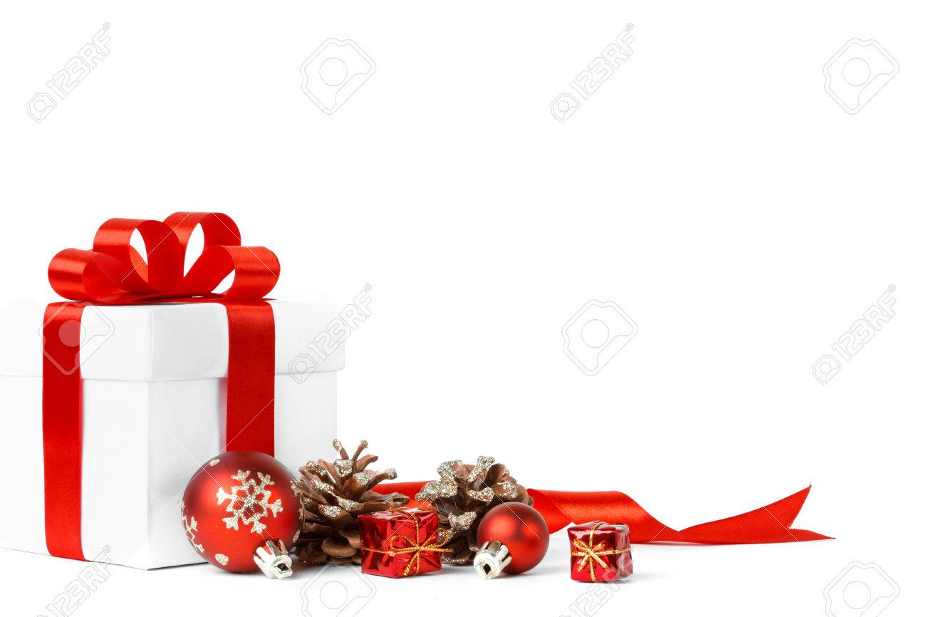 christmas gift with red balls bow isolated on white background Stock Photo - 33236257