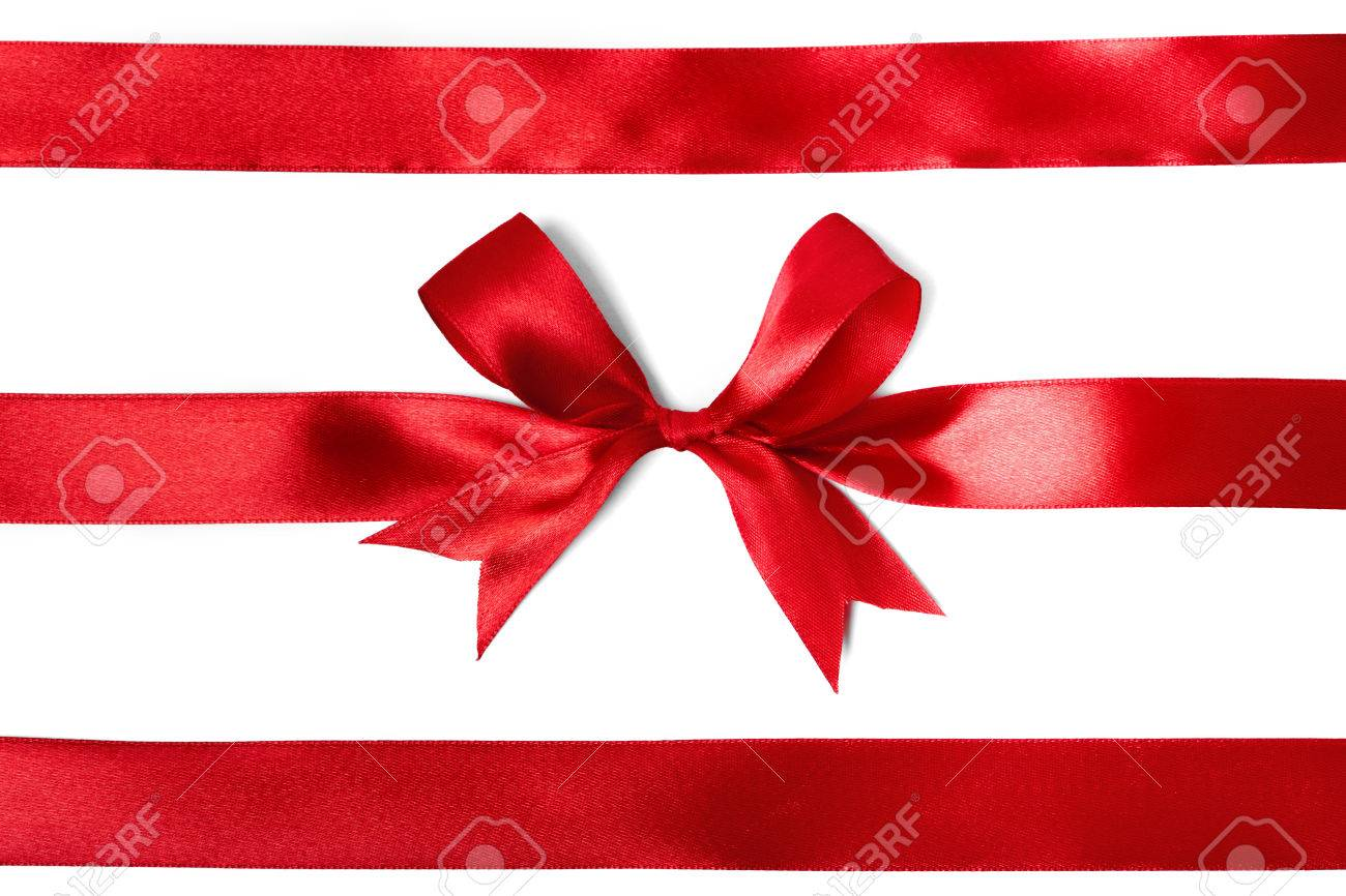 Shiny red satin ribbon on white background. studio shot Stock Photo - 33684137