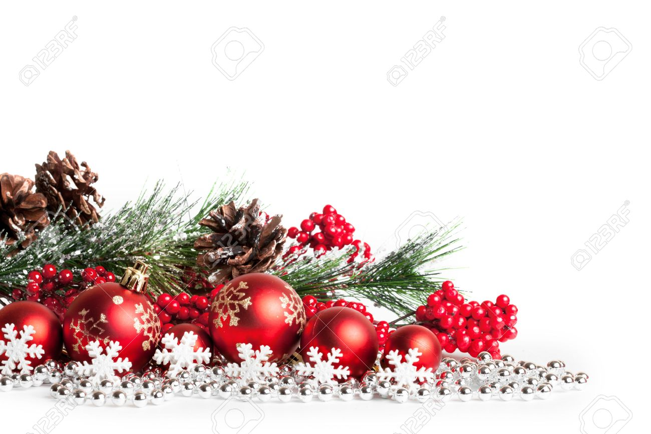 red christmas tree and balls on white. studio shot Stock Photo - 33795872