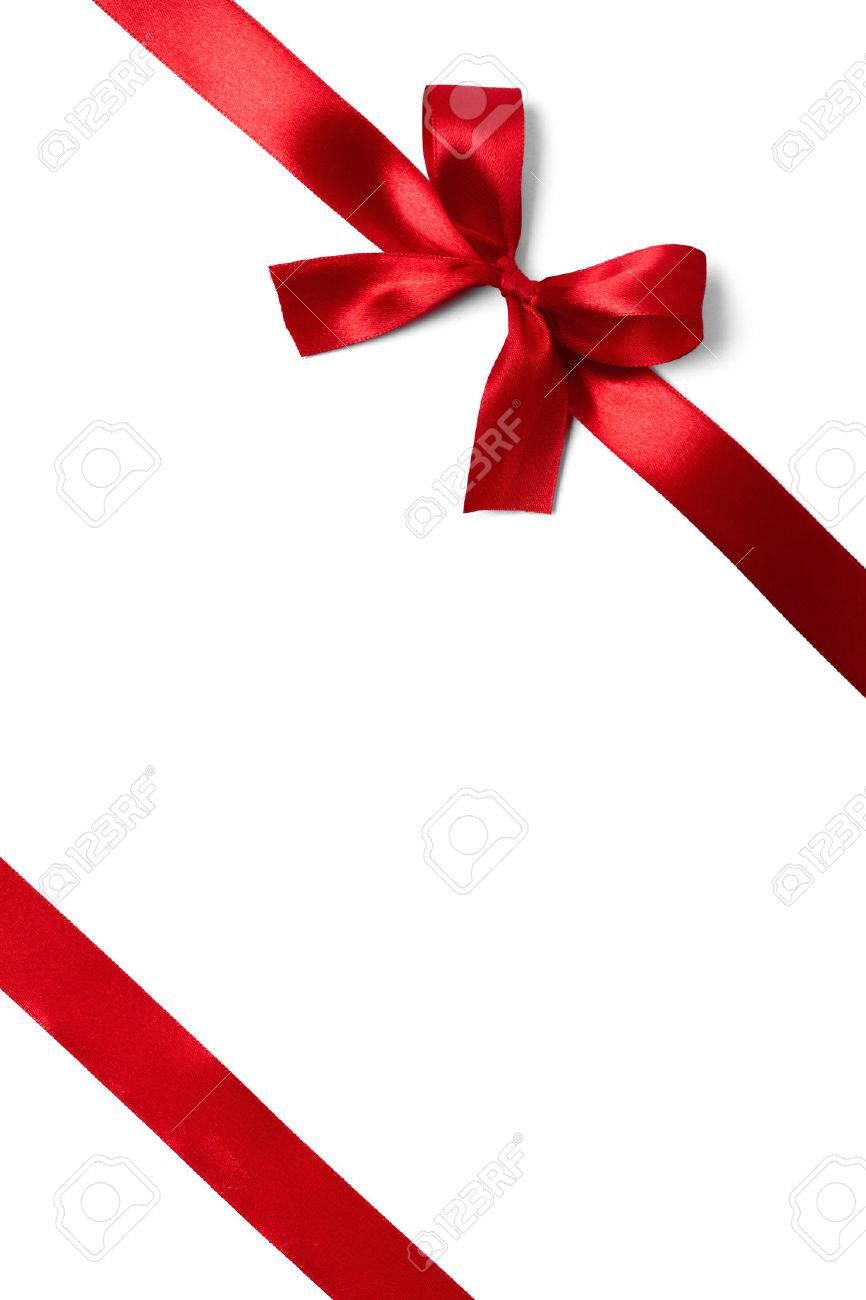 Shiny red satin ribbon on white background. studio shot Stock Photo - 33797693