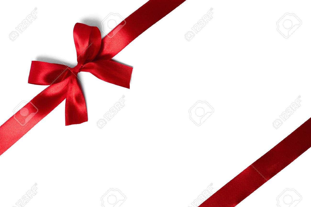 red ribbon with tails isolated on white background Stock Photo - 34395861