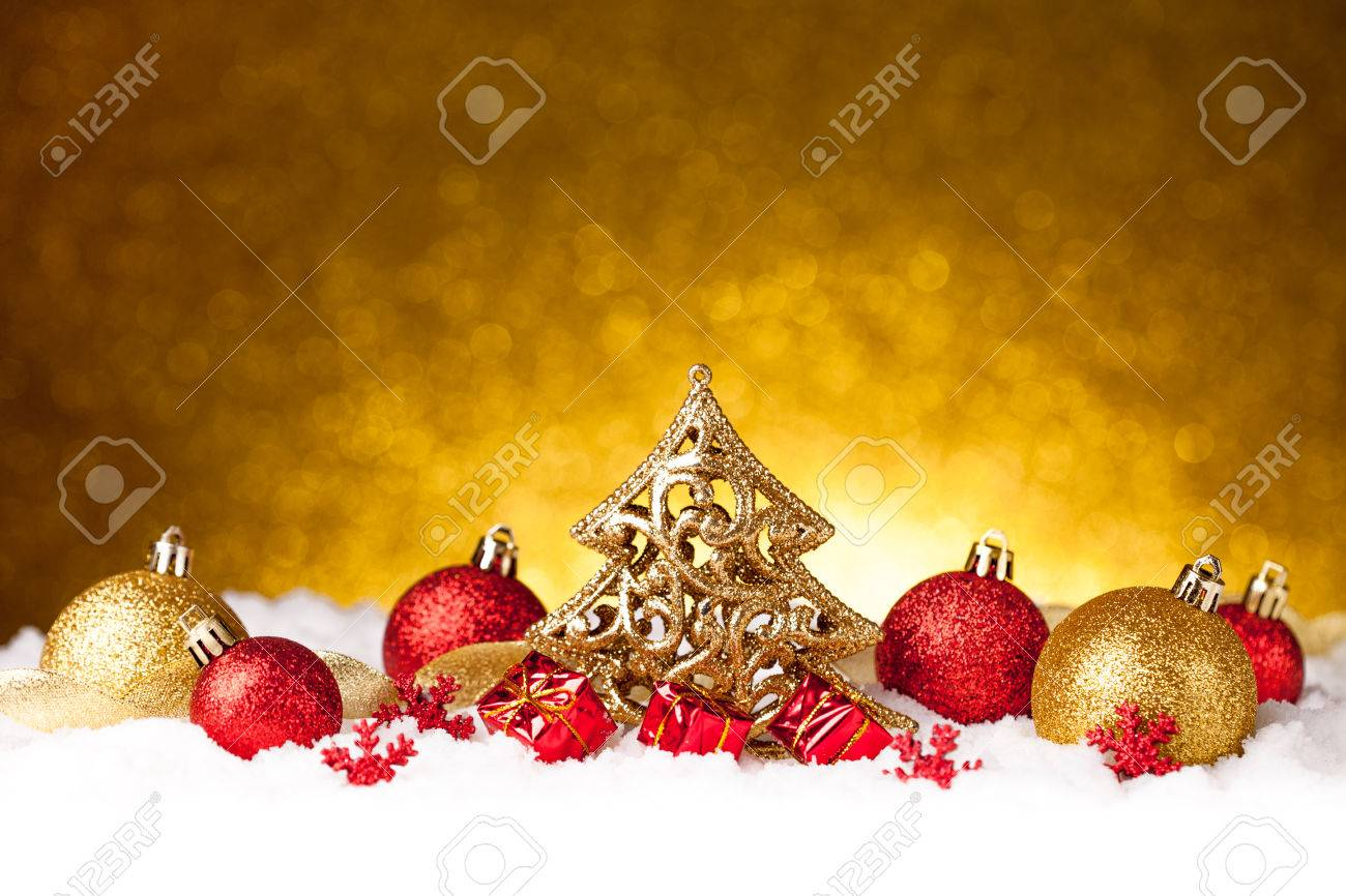 Merry christmas and happy new year card with red decoration Stock Photo - 34379568