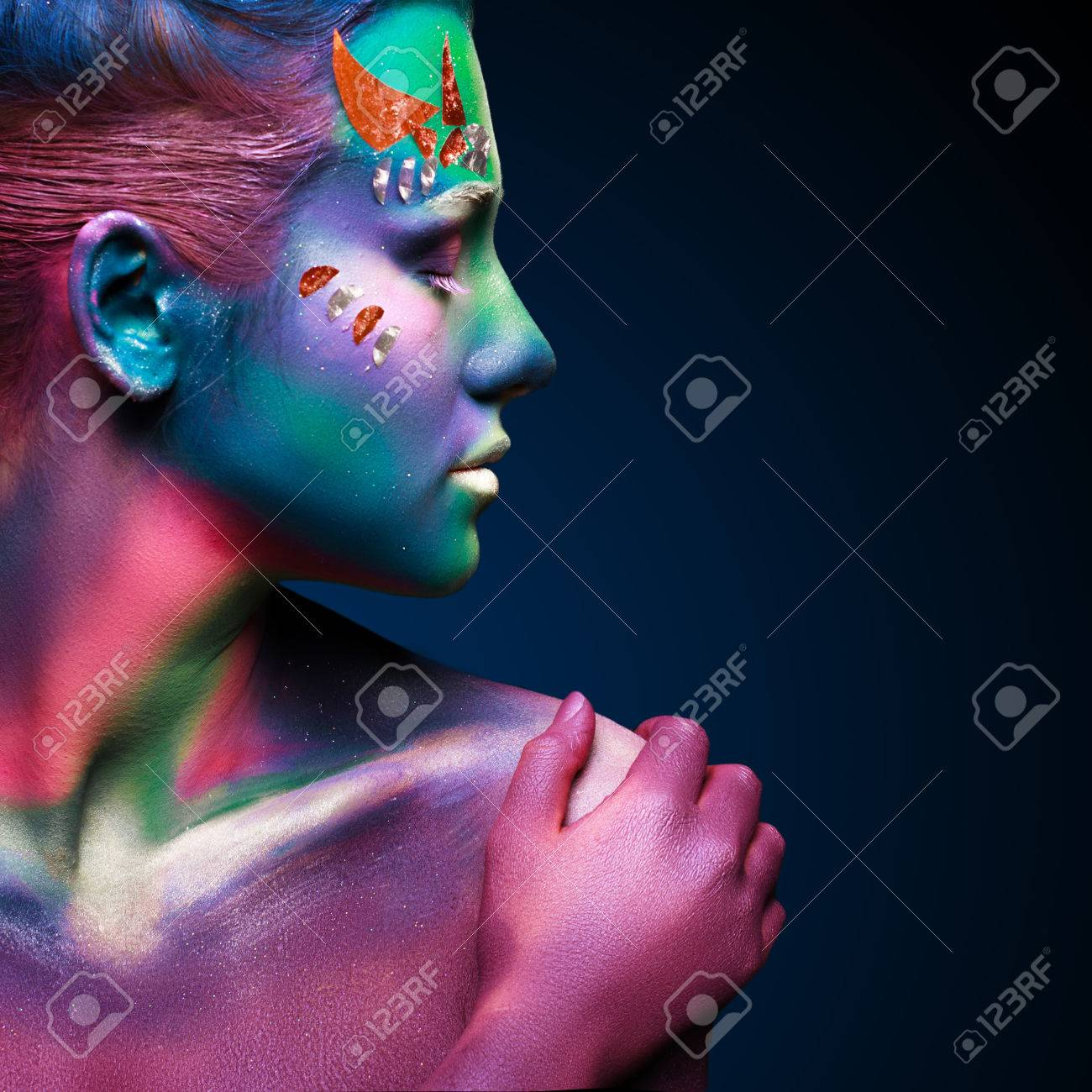 Portrait of beautiful woman with body art - 41236039