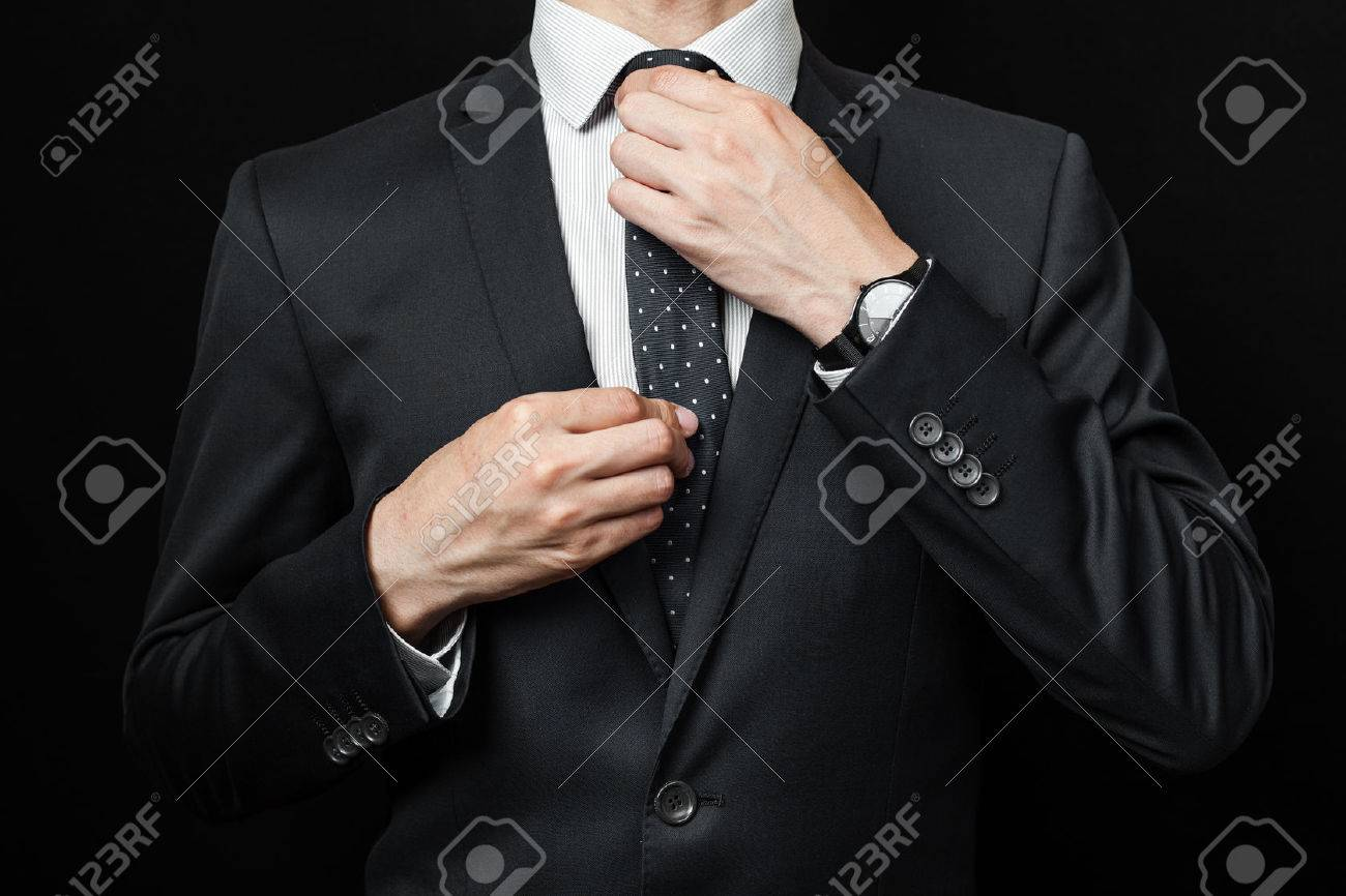 man in suit on a black background. studio shot Stock Photo - 42854480