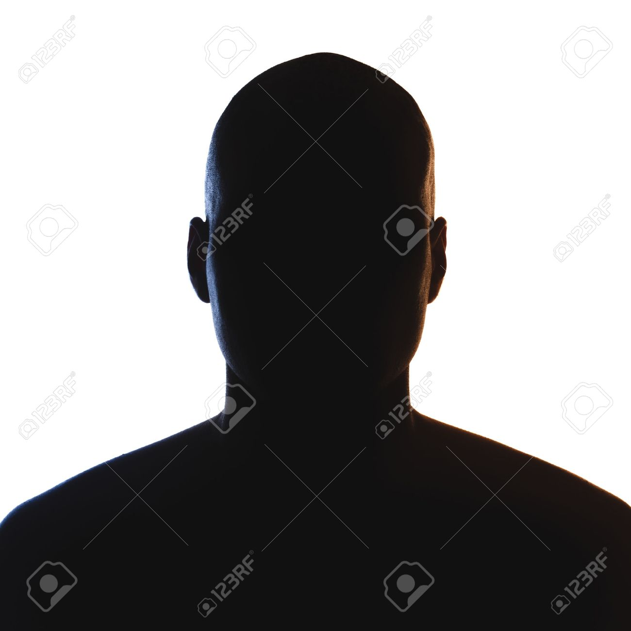 Unknown male person silhouette. Back lit studio isolated Stock Photo - 43715318
