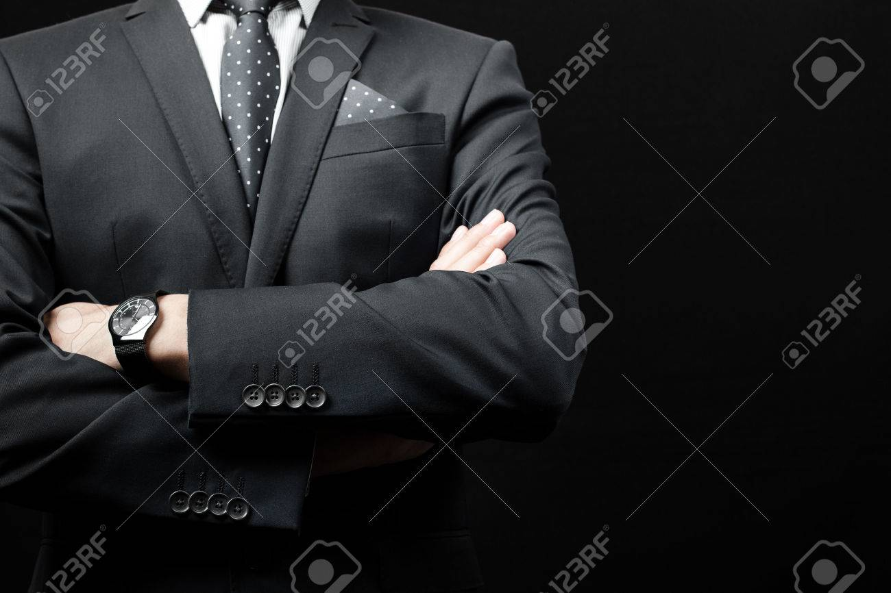 man in suit on a black background. studio shot Stock Photo - 43831973