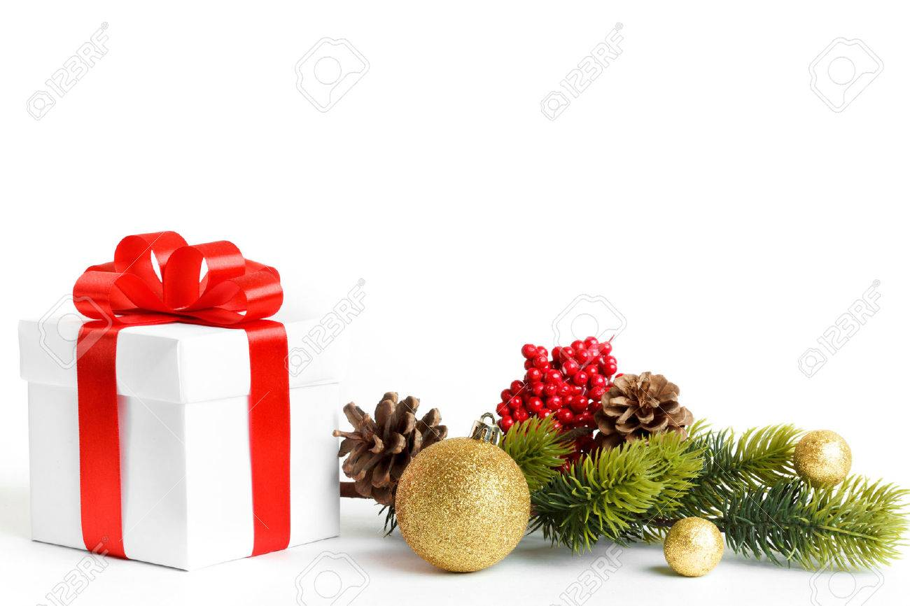 Composition of the Christmas decorations isolated on white Stock Photo - 44344139