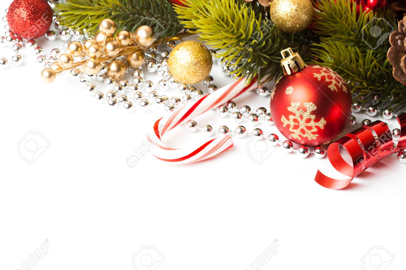 Christmas Decoration. Holiday Decorations Isolated on White Background Stock Photo - 44344145