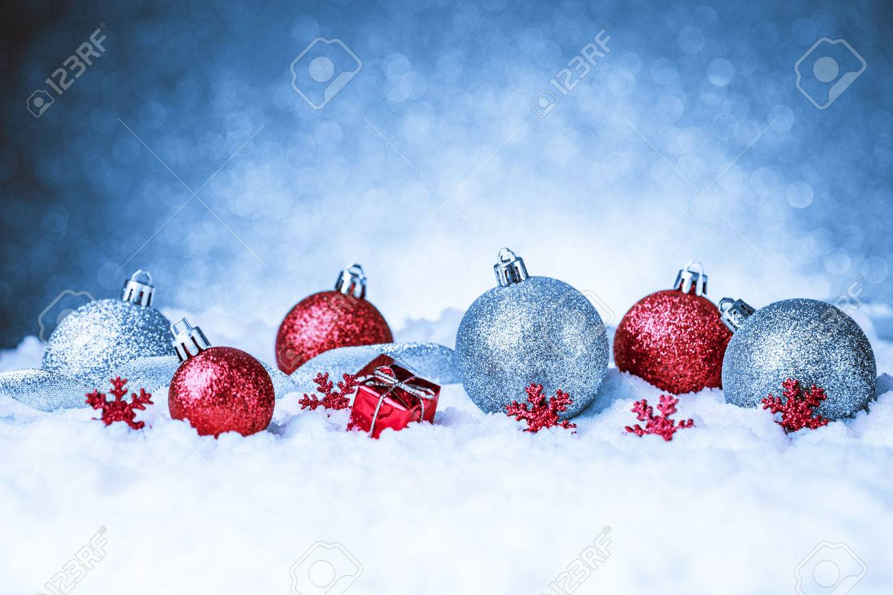 Merry christmas and happy new year card with red decoration Stock Photo - 45311218