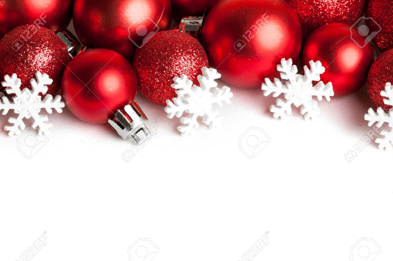 Christmas border with red ornaments Stock Photo - 48208914