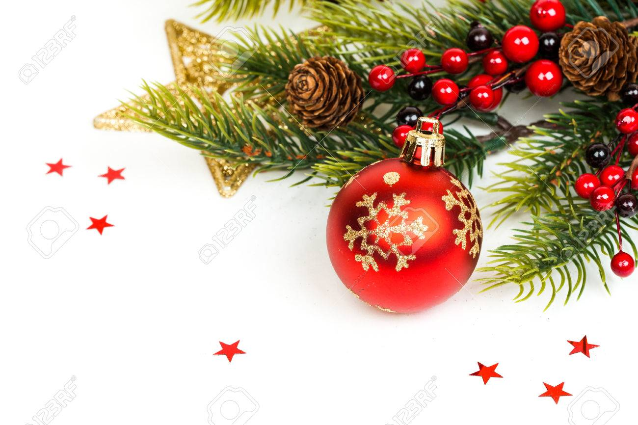 Christmas ball and fir branches with decorations isolated over white Stock Photo - 48207792
