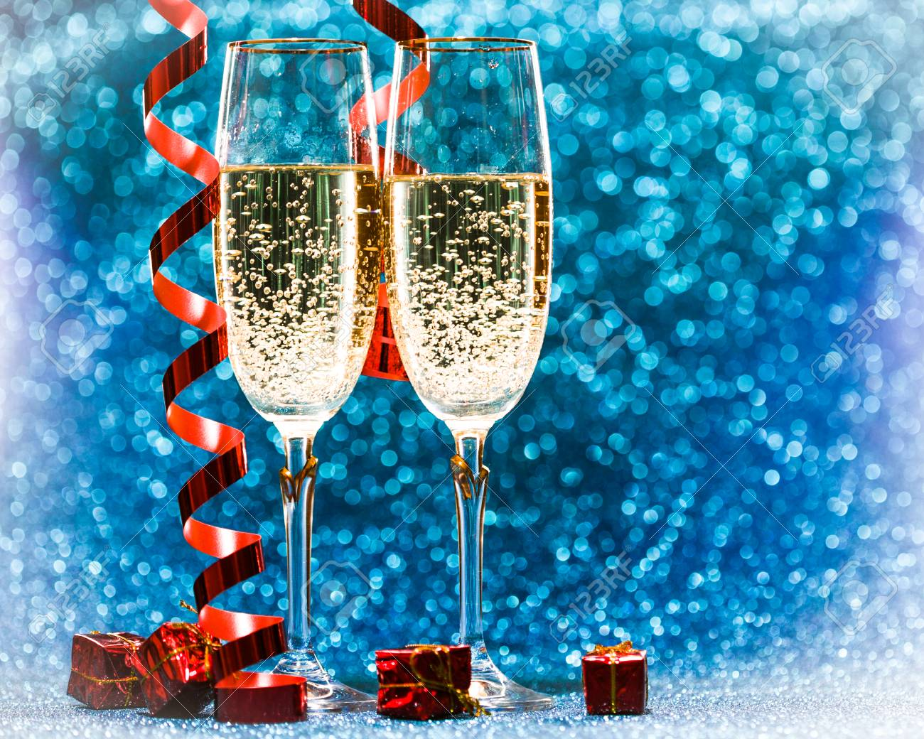 Two Champagne Glasses Decoration On Glitter Background Stock Photo